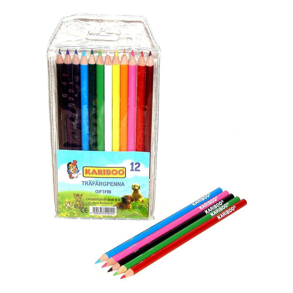 Träfärgpennor Smala - 12-pack