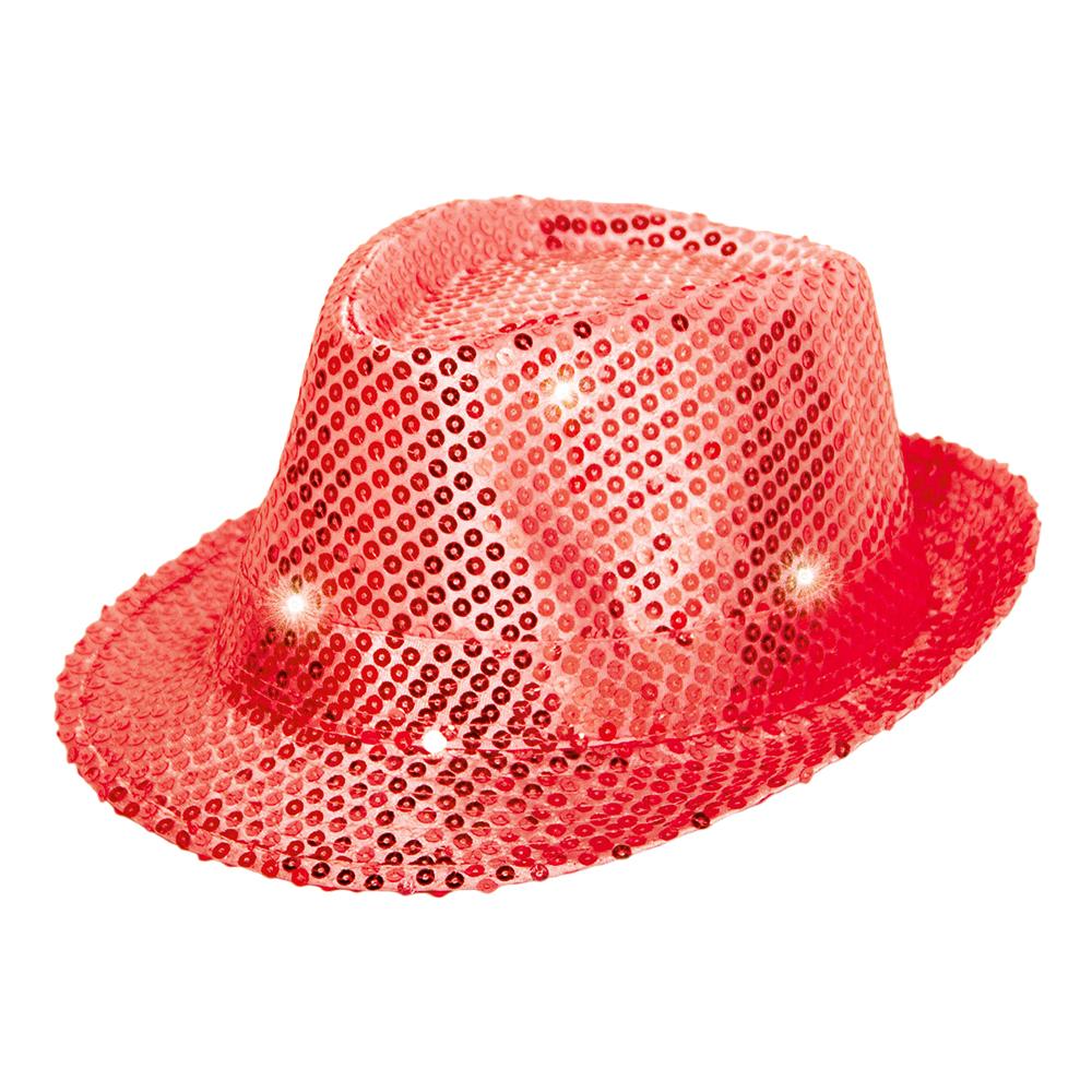 Trilby Paljetthatt LED - Röd