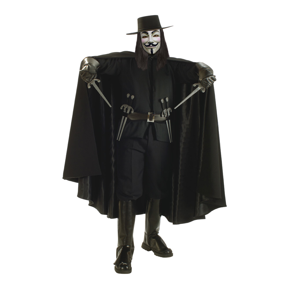 V For Vendetta Deluxe Maskeraddräkt - One size