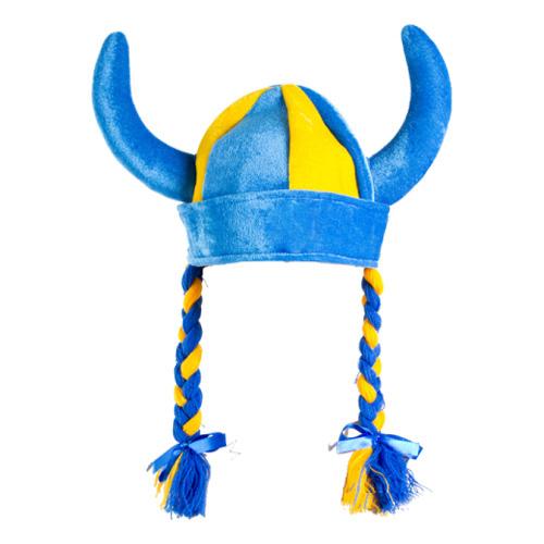 Vikingahjälm Blå/Gul med Flätor