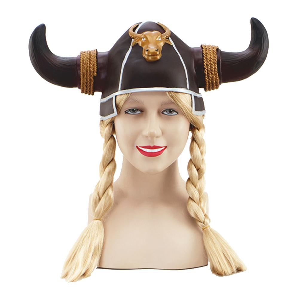 Vikingahjälm med Flätor - One size