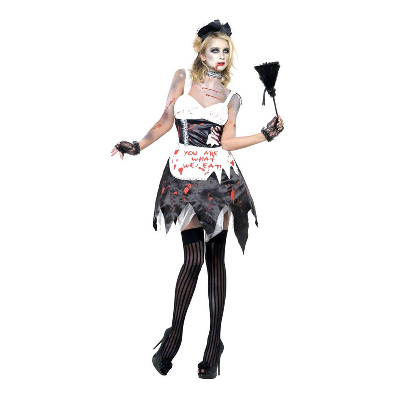 Zombie French Maid Maskeraddräkt - Small