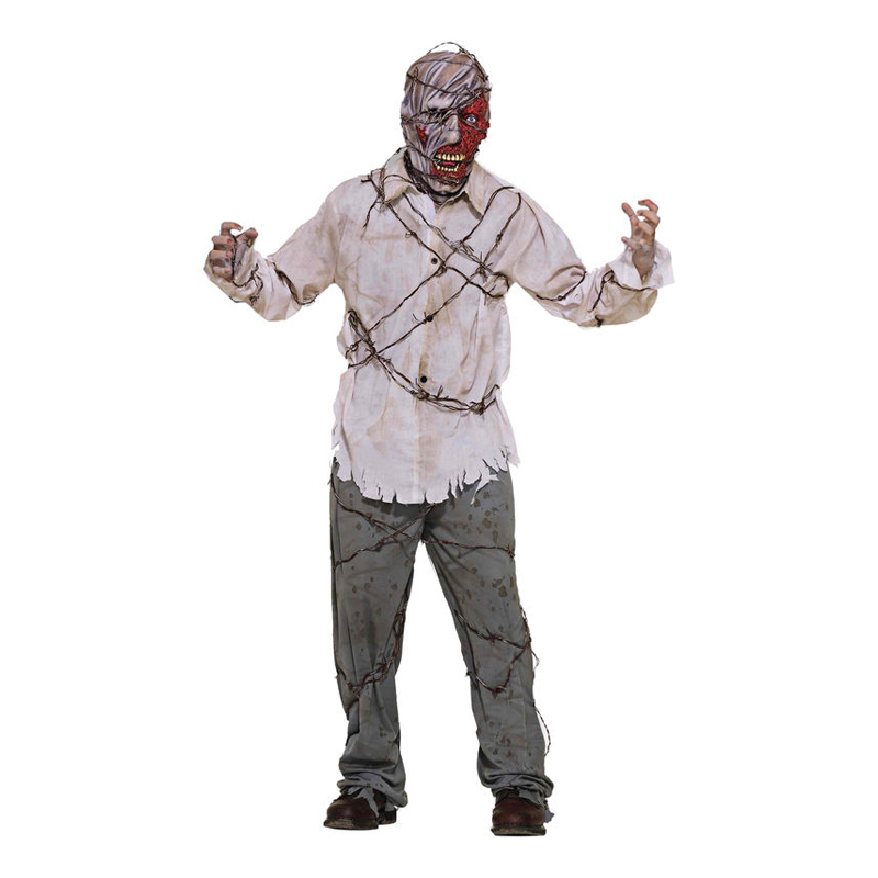 Zombie med Taggtråd Maskeraddräkt - One size