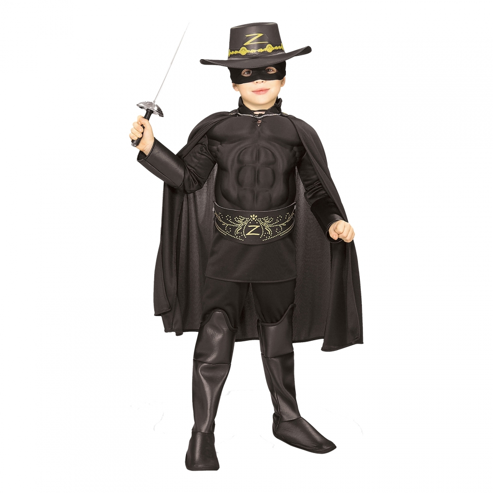 Zorro med Muskler Barn Maskeraddräkt - Small