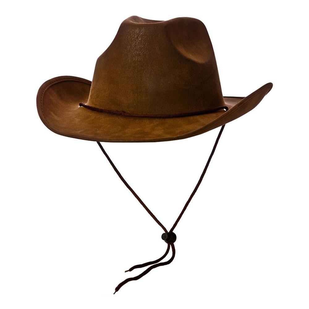 Cowboyhatt Brun med Snöre