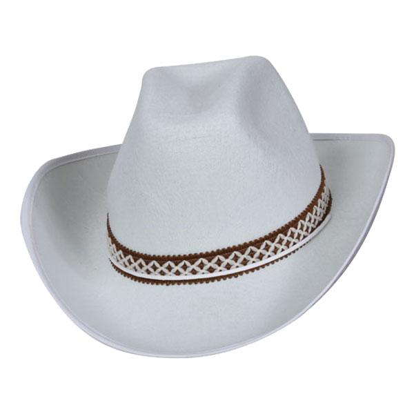 Cowboyhatt Vit med Band