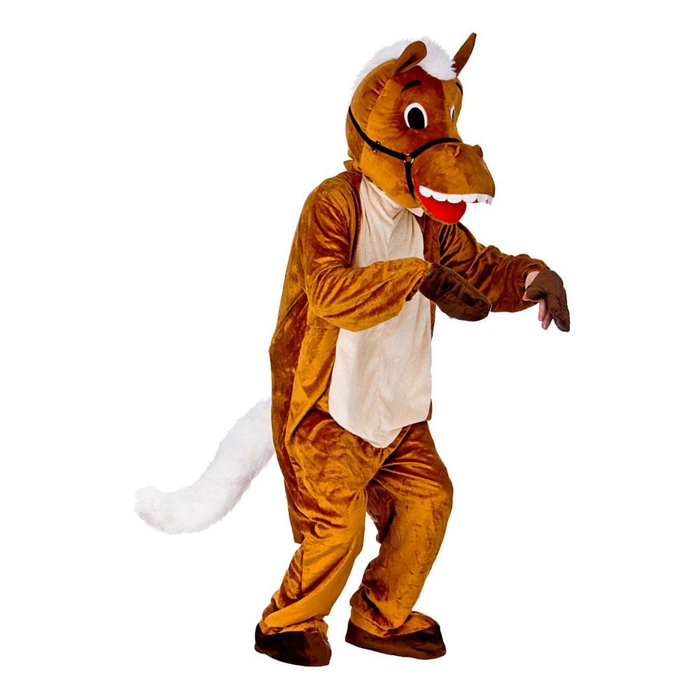 Hästmaskot med Vit Man Maskeraddräkt