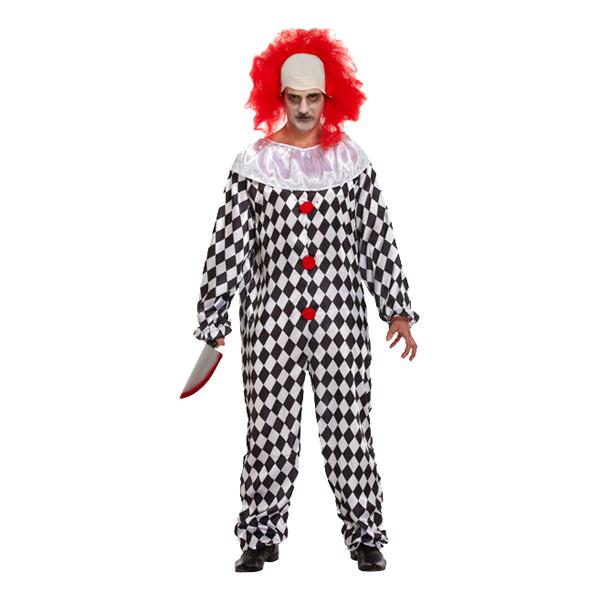 Läskig Clown med Peruk Maskeraddräkt