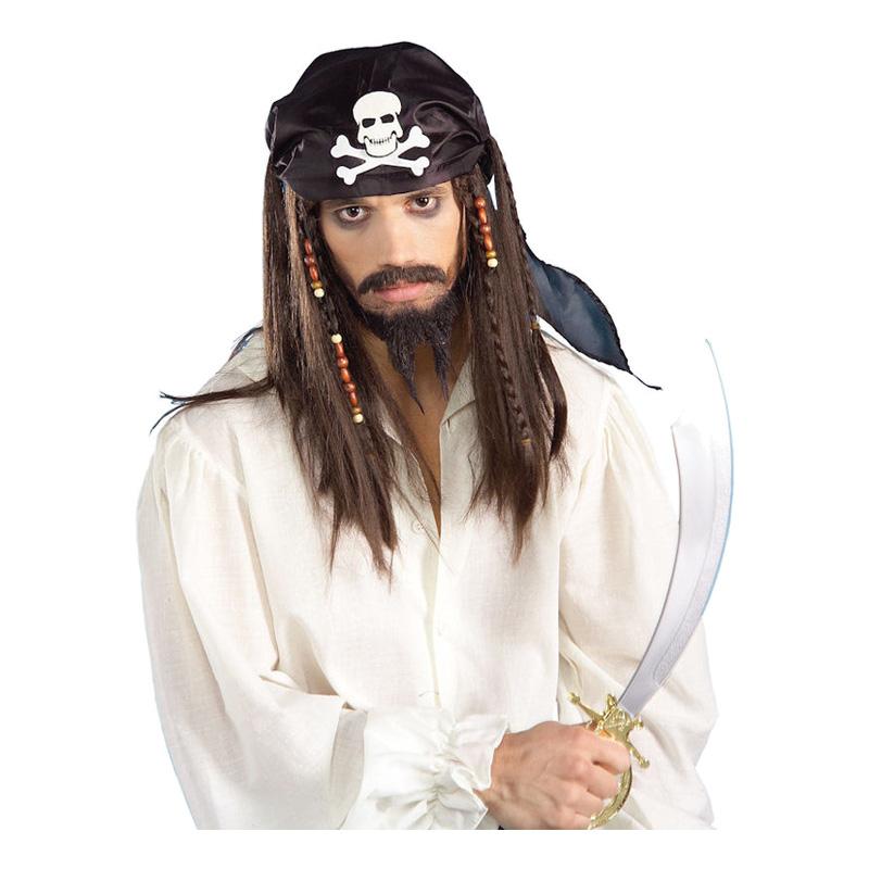 Piratperuk med Dödskallebandana